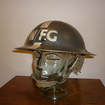 British WWII Warden Fire Guard steel helmet.