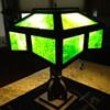 Arts & Craft period Mission oak Slag Glass Lamp c.1910