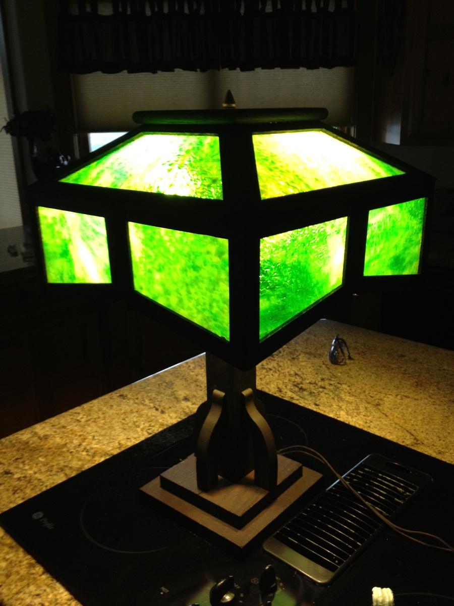 cdb867e298c6c Arts   Craft period Mission oak Slag Glass Lamp c.1910