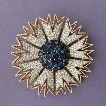 Trifari Rhinestone Starbust Cockade Brooch with Blue and Clear Stones - Costume Jewelry