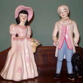 Victorian Man & Woman & Dog Figurine - Pottery