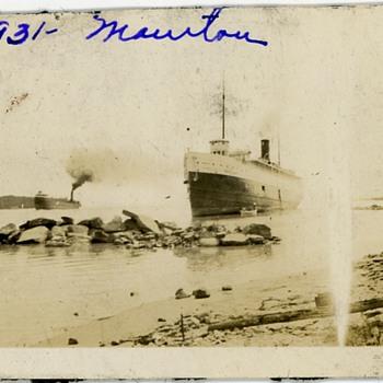 1931 Lake Michigan Steamship Manitou Run Aground Photo - Photographs