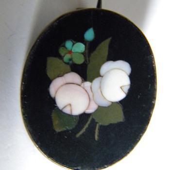 Antique Victorian Pietra Dura Italian Brooch Pin Silver - Fine Jewelry