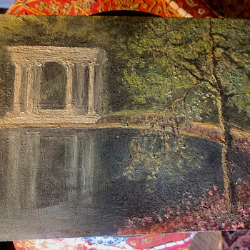 A Small Old Painting of Crystal Springs Reservoir - Folk Art