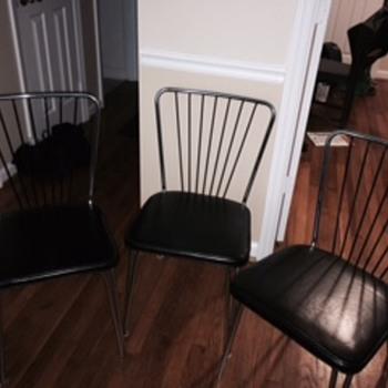 Lloyd Manufacturing Company - (3) Art Deco Chrome Leather Chairs - Art Deco