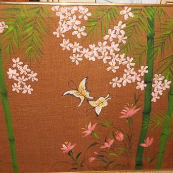Mid Century - Vintage  - Painting on Burlap - Japanese?
