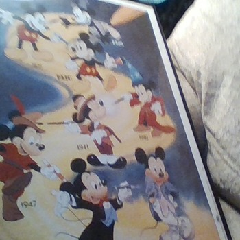 Printed in 1958 is a Mickey Mouse from the first Mickey in 1929 to 1958 on Yellow Road.