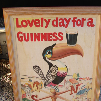 Guinness Tucan beer advertising painting on board - Advertising