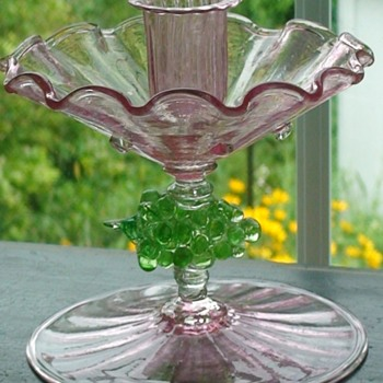 Pink Glass Compote/Candle Holder With Grape Accents Salviati (?)