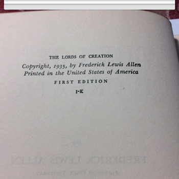 The Lord's of creation 1935 with book plate
