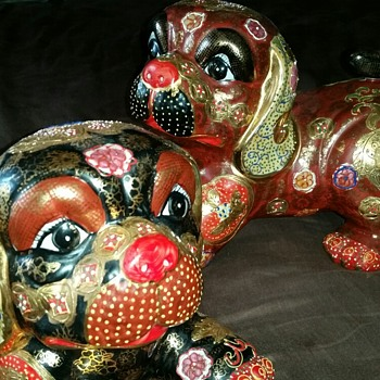 Large hand painted dog statues  - Animals