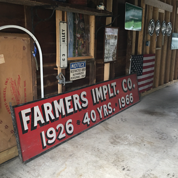 FARMERS IMPLT. CO. 1926~ 40YRS. ~ 1966 double sided wood sign  - Signs