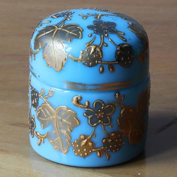 Turquoise opaline glass miniature jar with gilt decoration - Art Glass