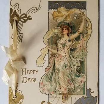 Art Nouveau Greeting Card, Woman with Raised Arm, Eva Daniell (Artist), Raphael Tuck & Son's, England/Germ., ca 1902, Attrib. - Art Nouveau