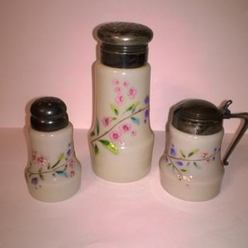 Unknown sugar shaker, salt shaker, and mustard - Kitchen