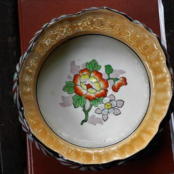 c 1920 Noritake Blue and Peach Lustre Lotus bowl,unmarked. - Art Deco
