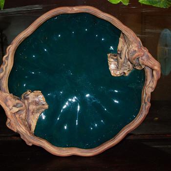 Terrafirma Ceramics Pottery Leaf Design Tray Ellen Evans 1989 - Pottery
