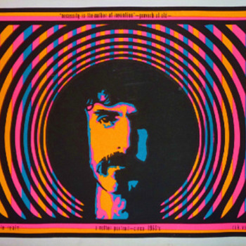 """1968 day-glo silkscreen poster featuring """"A Mother Portrait"""" of the inimitable Frank Zappa by artist Rik Vig."""