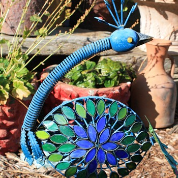 Wobbly Garden Peacock Made of Colored Glass and Tin