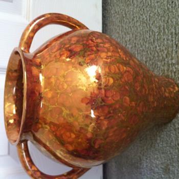 Copper glaze urn marked CJ - Pottery