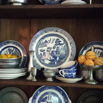 pewter and blue willow - China and Dinnerware