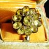 Antique Georgian Green Chrysoberyl Flower 18k Silver Ring