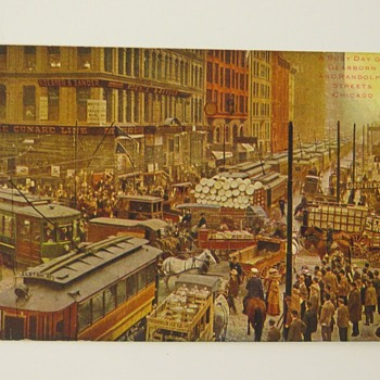 "CHICAGO. Photo 1909. Published in ""18., Dearborn & Randolph Streets, WW1 Era CROWDS/CONGESTION. POSTCARD - Postcards"