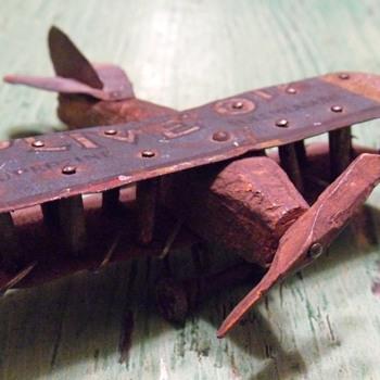 WW I Trench Art Biplane - Folk Art