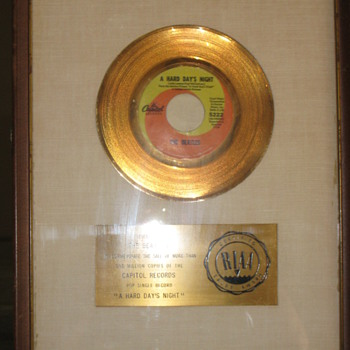 "RIAA 45 award white matte ""coin"" single for ""HARD DAYS NIGHT"". - Music Memorabilia"