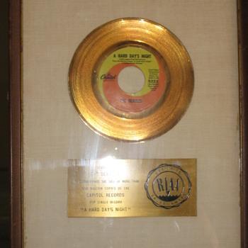 """RIAA 45 award white matte """"coin"""" single for """"HARD DAYS NIGHT""""."""