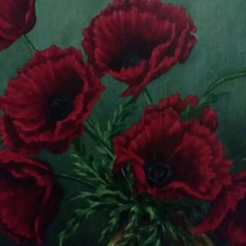 "Vintage Fine Art Oil Painting. Still Life. Poppies in Antique Vase. Amazing Work ! 15.5"" x 18.5"" Framed - Fine Art"