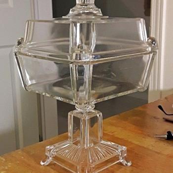 ANTIQUE  PEDESTAL SQUARE COMPOTE - Glassware