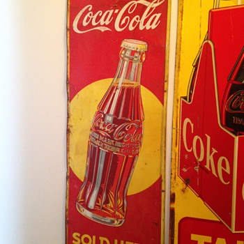 Early '40's Vertical Coca-Cola Tin Sign - Coca-Cola