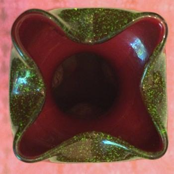 Rindskopf Quadrifoliate Aventurine Vase - Art Glass