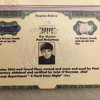 Paul McCartney shirt & towel piece-1964 - Music Memorabilia