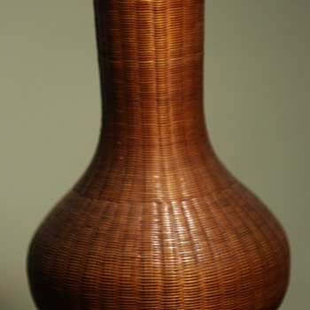 Very finely woven basket vase w/ an opaque glass insert. - Asian