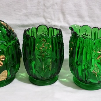 Green Glass Table Set...Who made it?