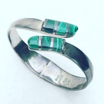 Vintage Taxco Mexico Sterling Silver Bracelet w/ Malachite Stone inlay - Fine Jewelry