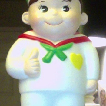 Sailor (Japanese?) Plastic Coin Bank - Coin Operated