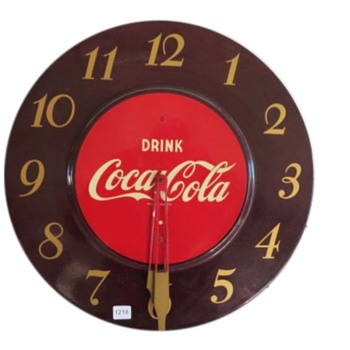 1952 Coca-Cola Electric Wall Clock - Maroon - Coca-Cola