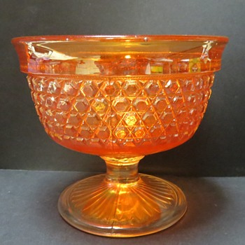 Sowerby Carnival Glass Footed Bowl, with Peacock Mark - Glassware