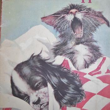 1938 Whitman Linen Kittens & Puppies Book - Books