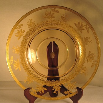 Amber Glass Plate with Gold Etching - Glassware
