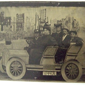"Tintype of touring ""car"" after the San Francisco Earthquake - Photographs"