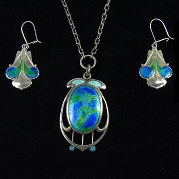 Art Nouveau Silver & Enamel Pendant and Earrings by James Fenton of Birmingham - Fine Jewelry
