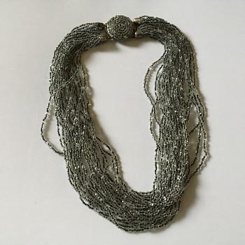 Vintage multi strand glass necklace  - Costume Jewelry