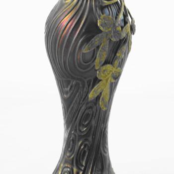 Art Nouveau Bohemian Spiraloptisch Petrol Iridescent Vase - Art Glass
