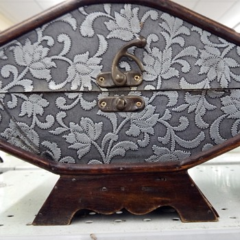 vintage unusual shaped wood box with textured fabric  - Sewing
