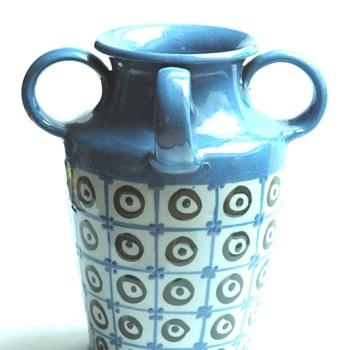 art deco 4 handles pottery vase by LEON ELCHINGER- circa 1920 - Art Deco