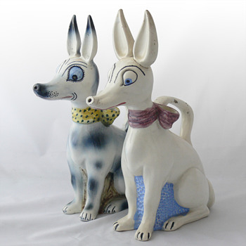 "Art Deco ""botijos"" in the shape of the Xaudaró dog. Ca. 1930 - Figurines"